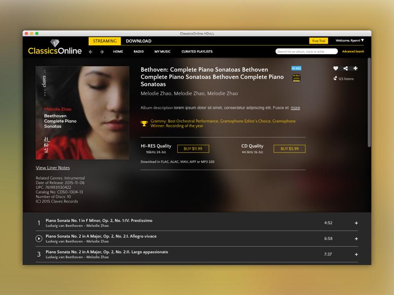 Classical Music Desktop App by Ryann Mack on Dribbble