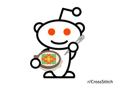 r/CrossStitch Snoo illustration stitch hoop needle cross stitch snoo reddit logo alien