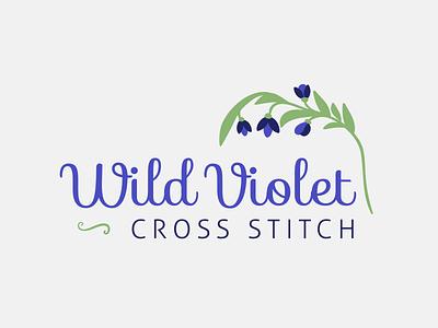Wild Violet Cross Stitch Logo embroidery stitch identity logo flower cross stitch violet