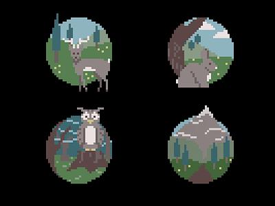 Pixel Woodland Series field mountain owl bunny rabbit deer woods forest 8-bit pixel art pixel