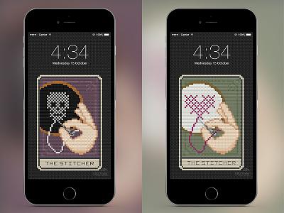 💀🃏❤️ The Stitcher Tarot Card Phone Wallpapers android heart download iphone wallpaper tarot stitch skull pixel art pixel cross stitch card