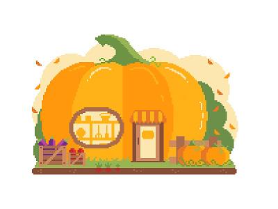 🎃 Pixel Pumpkin Shop 🍂 market farmers shop radish leaves vine eggplant apple autumn fall pixel pumpkin