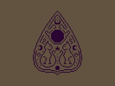Cat Ouija Planchette 🔮🐈 moon kitty cat occult witch ouija cross stitch pixel art