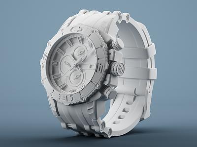 3D Model - Festina Chrono Bike 2012 3d render clay watch festina v-ray c4d steel rubber black waskogm 23dsgn 3d model