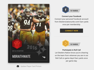 Pittsburgh Steelers Rewards Program - Player Card dashboard player card football field nfl loyalty