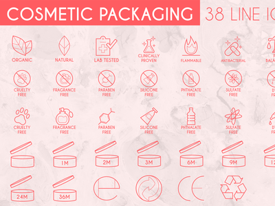 Cosmetic Packaging Line Icon Pack