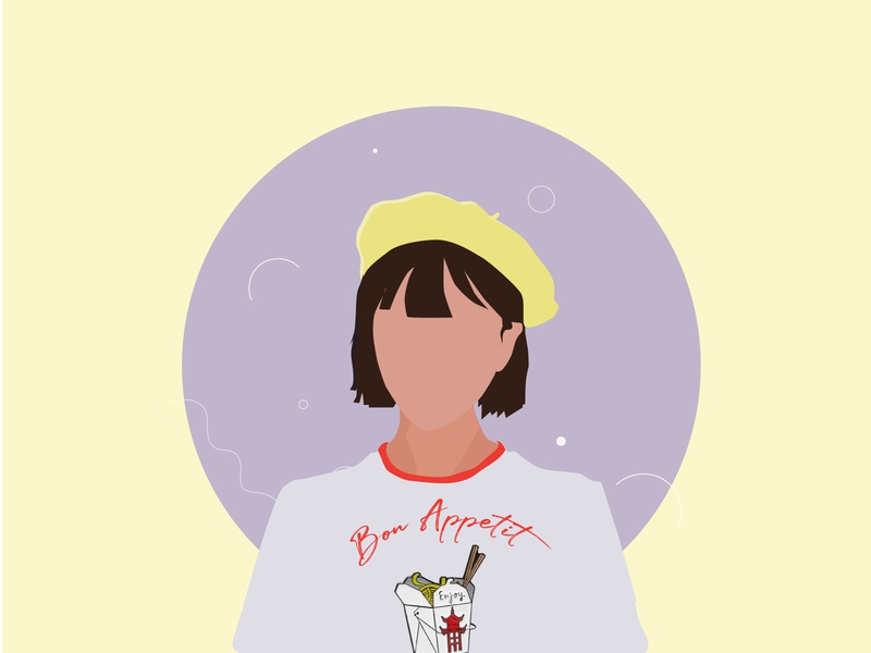 The Parisian Chic who Loves Chinese Food 2d food parisian girl character girl illustration girl logo adobe illustrator illustration design