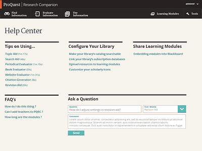 Help Center comp web design