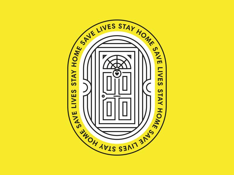 Stay Home Save Lives circles vector linework logo design logo idea logo mark door line art lines illustration illustrator logo