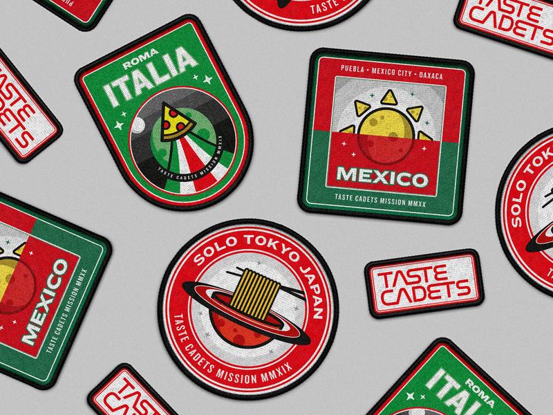 Taste Cadets: Patch Collection badge design badges vectors patches patch food design food mockup illustration illustrator vector illustration vector art vector patch design crest badge