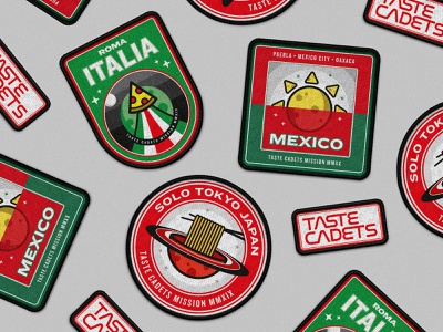 Taste Cadets: Patch Collection badge design badges vectors patches patch food design food mockup illustration illustrator vector illustration vector art vector patch design crest badge