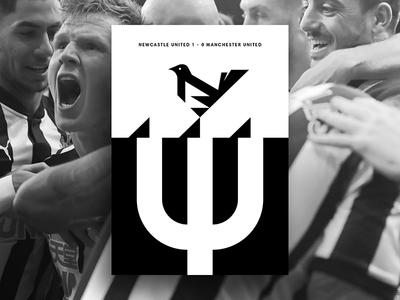 Newcastle Utd 1 - 0 Manchester Utd illustration vector soccer black print poster layout graphic design football design