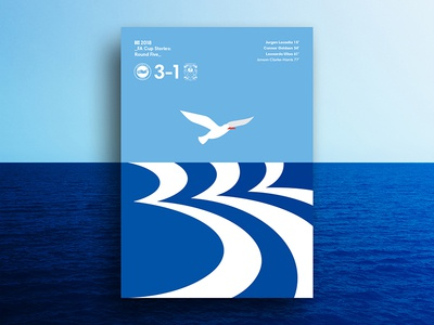 Round 5: The Seagulls Hit Three vector illustration water print poster layout graphic design football design blue animal