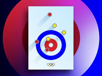 Winter Olympics: Curling flat design color art print poster gradient vector circles graphic design design