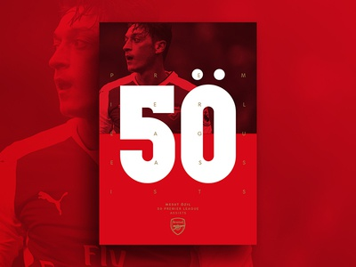 50 Premier League Assists flat design typography type red print poster logo graphic design football design