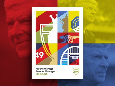 Merci Arsène icon illustration blue gold red print poster graphic design football flat design design