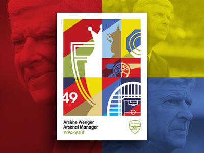 Merci Arsène icon illustration blue gold red print poster graphic design football flat design design