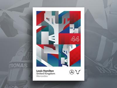 Lewis Hamilton 44 flat design gradient blue red illustration vector flat shapes poster design