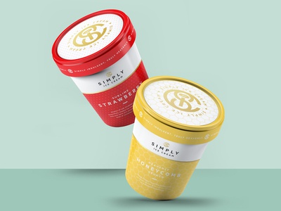Simply Ice Cream Redesign pattern brand luxury gold monogram logo graphics mockup ice cream packaging product design