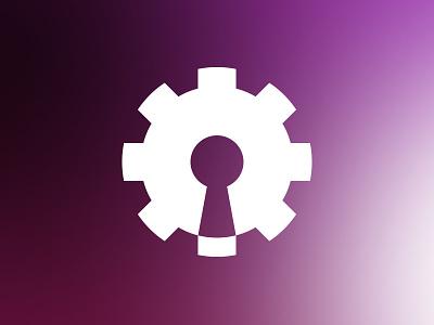 Cog Lock vector flat mark identity gradient brand cog lock symbol icon logo design