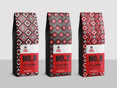 Tiki Tonga Coffee Redesign typography type pattern product white black red branding packaging design logo brand