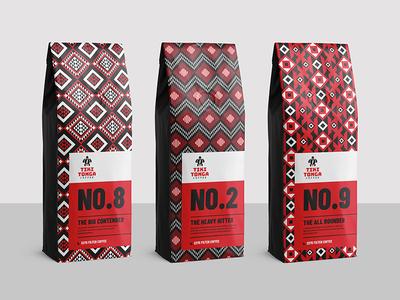 Tiki Tonga Coffee Redesign typography type pattern product white black red branding packaging design logo brand