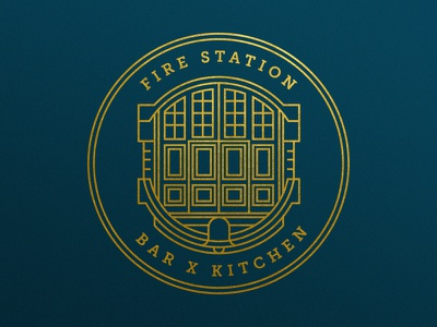Fire Station Logo branding mark lines circle doors symbol identity crest badge illustration brand logo