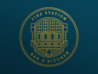Fire Station Logo branding mark lines circle doors symbol identity crest badge illustration brand logo