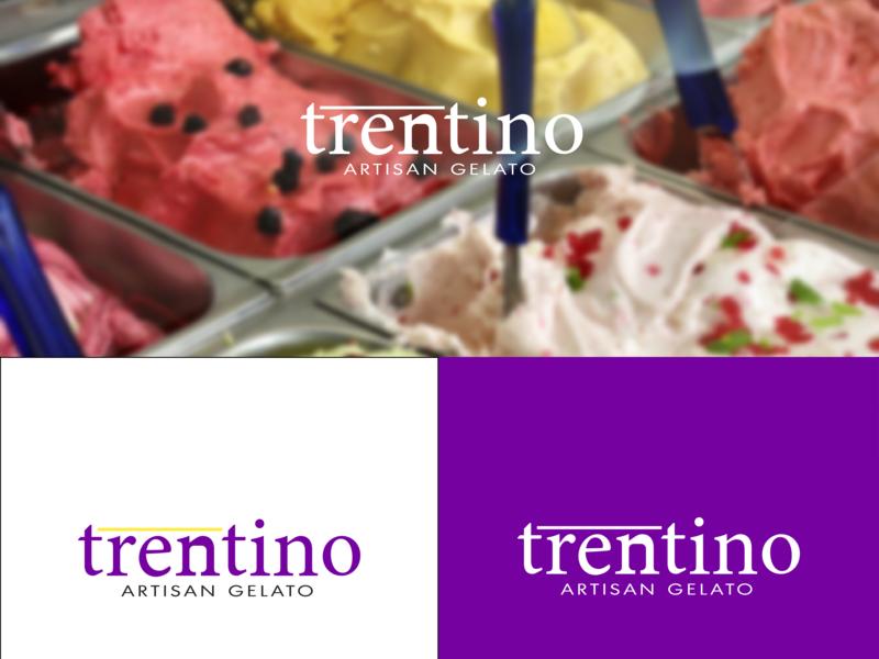Trentino - Artisan Gelato brand vector blue web illustrator negative space character lettering minimal icon type logo typography identity branding illustration flat design