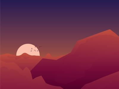 Light Landscape with gradients illustrator artwork type minimal identity character branding flat illustration design