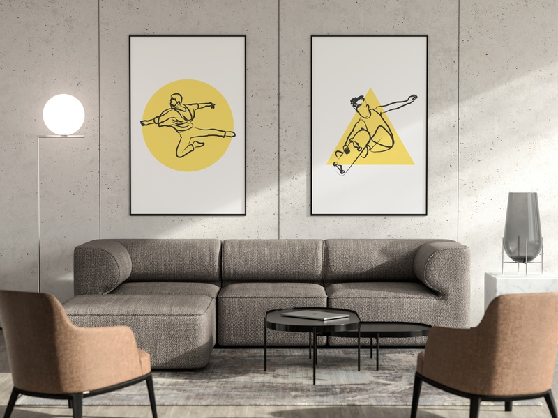 Mockup - Dance And Skate mockup skater skateboard dance minimalist lettering negative space lineart illustrator type minimal identity character illustration flat design
