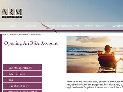 ARM Pensions ui web design