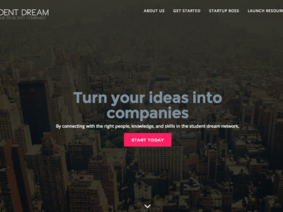 Student Dream Dribbble one-page ui interface startup