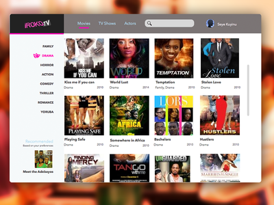 Concept design for Iroko TV + Sketch file iroko-tv iroko online tv movies ui interface user interface web nollywood clean