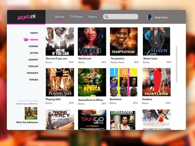 Concept design for Iroko TV + Sketch file iroko-tv iroko online tv movies ui interface user interface web nollywood clean