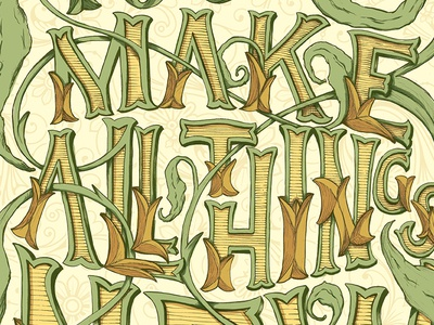 All Things New poster hand drawn type handdrawntype leaves filigrie type hand lettering handlettering lettering poster