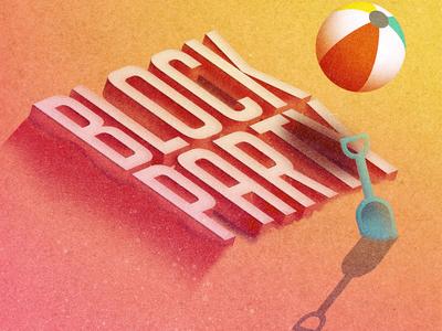 Beach Themed Block Party  invite summer beach illustration
