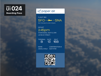 Daily UI 024 - Boarding Pass boarding pass 024 ui daily 100 challenge