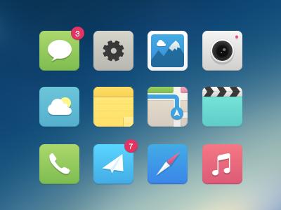 iOS7 alternative Icons ios7 ios icons messages maps notes safari itunes camera photos alternative