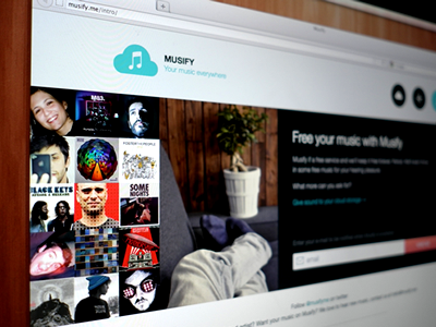 Musify, Teaser Page musify music streaming anywhere teaser one page design sound song cloud