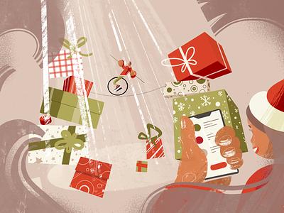 Xmas Discounts drawing design tightrope walker balance bonuses bonus gift box gift christmas xmas payment secure web ux ui texture illustration character design character