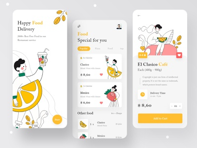 Online Food Delivery App food app design travel app mobile ui illustraion mobile app 2020 best shot food delivery delivery app app app design add to cart