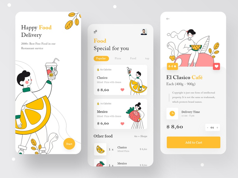 Online Food Delivery App food app design travel app mobile ui illustraion mobile app 2020 best shot food delivery delivery app app app design add to cart