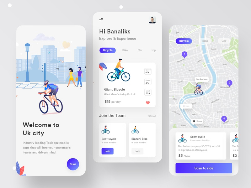 Cycling App interface product design clean logo ui  ux delivery truck bicycle app ride share ride app mobile app design app