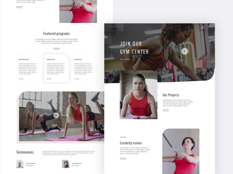 Gym - Landing page gym center body fitness website yoga case study trendy design 2019 yoga studio landing page body builder website clean minimal exercise fitness website gym landing page gym website