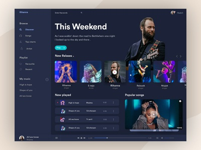 Music Player Dashboard (Dark Version) ux ui typography dark dashboard iphone dashboard music album desktop app artist profile application ui music app music player dashboard