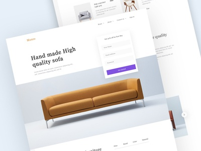 Furniture Home page furniture design website design shop website furniture sofa chair table bed ecommerce e-commerce online shop modern minimal clean team oreo landing page ui ux design typography furniture website furniture website home page