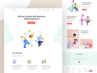 Creative agency landing page website ux ui service onepage minimal illustration homepage header features  footer digital agency creative agency creative clean business agency