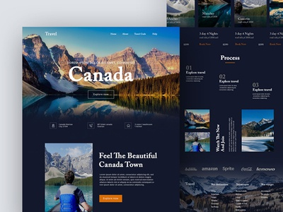 Travel Landing Page homepage 2019 trends landing page ux ui minimal 2019 best website canada travel trip planner travel agency trip website