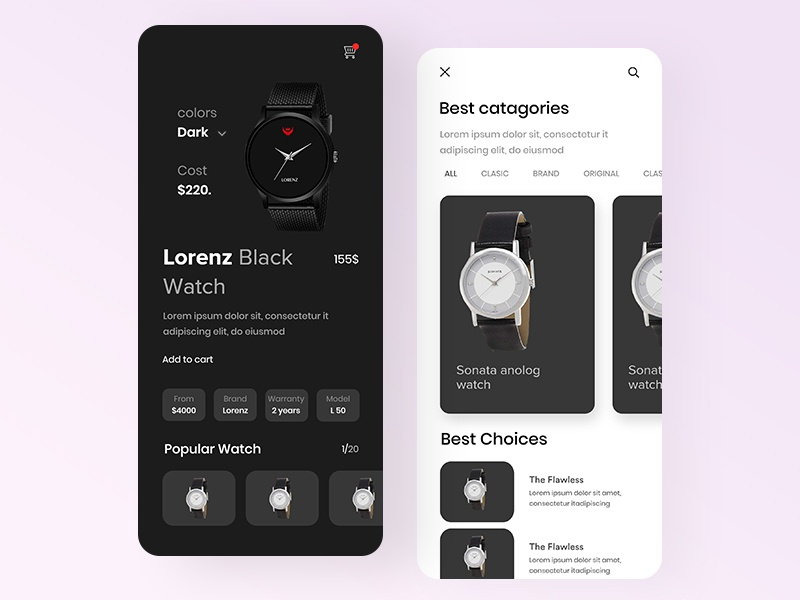 Lorenz Black Watch App UI watch dashboard watch application watch app app watch ux ui luxury ar watch app concept luxury brand iphone x app ecommerce shop ar app watch app ui